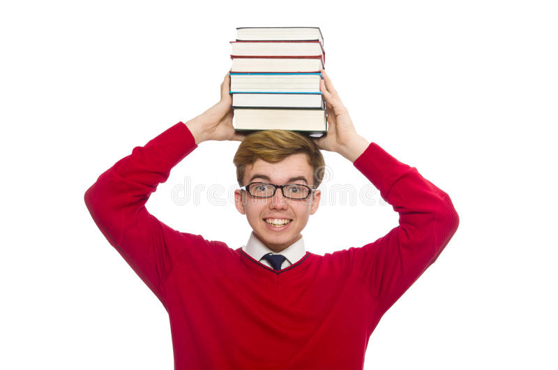 Rolig student med böcker som isoleras på viten arkivfoton