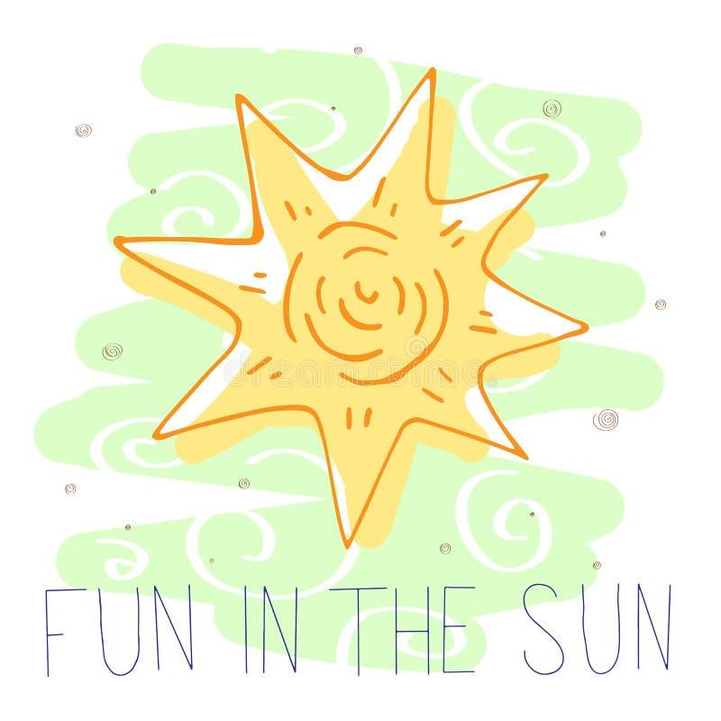 rolig sun Gullig vektorillustration stock illustrationer