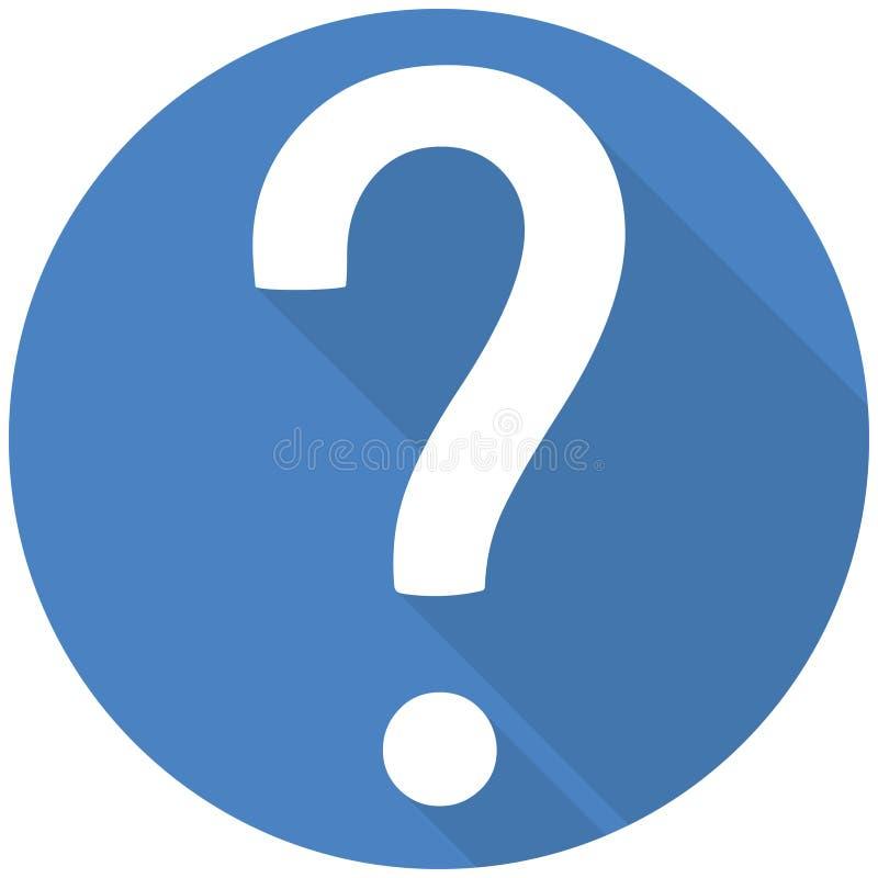 Rolig symbol för design för frågefläck plan med skugga royaltyfri illustrationer