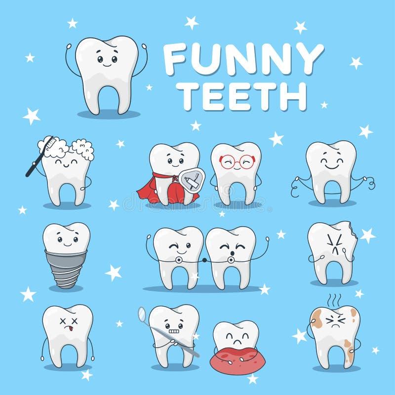 Rolig tandsymbolsuppsättning som isoleras på blå bakgrund stock illustrationer