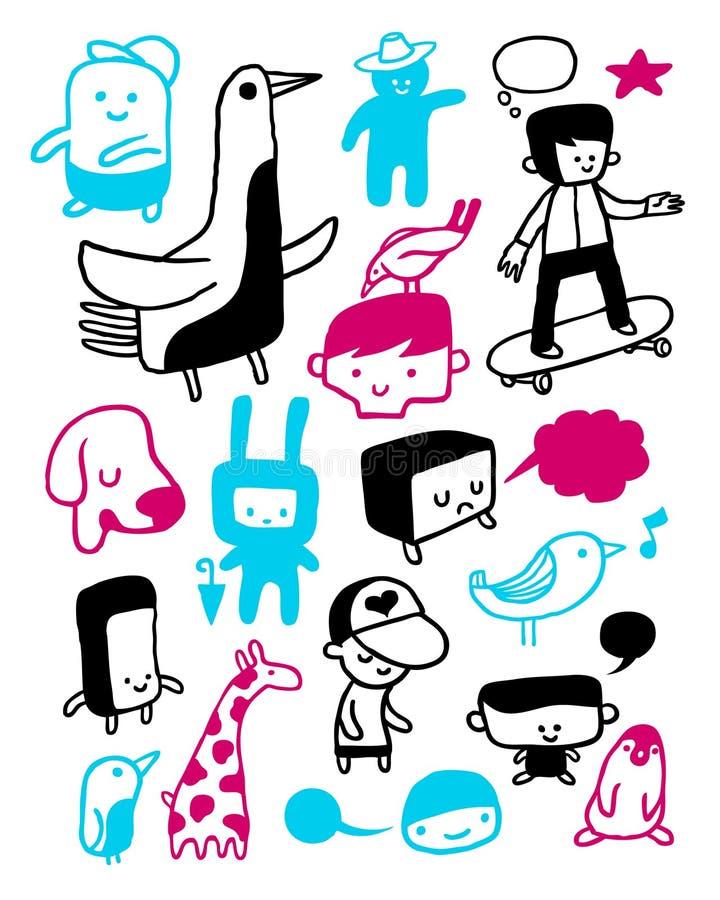rolig teckensamling royaltyfri illustrationer