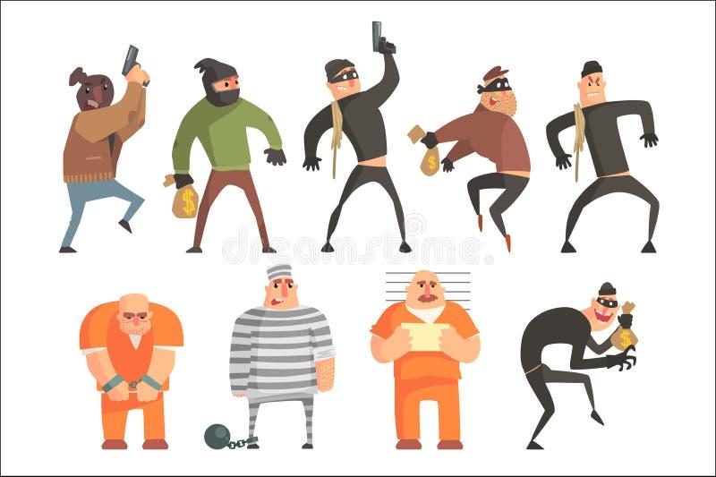 Rolig teckenuppsättning för brottslingar och för straffångar För stilvektor för tecknad film isolerade roliga illustrationer royaltyfri illustrationer