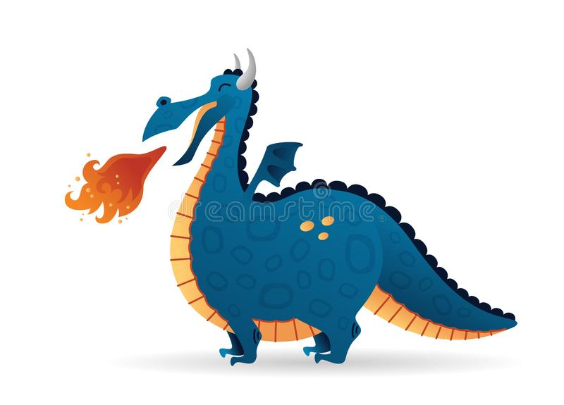 Rolig tecknad film för brandsagadrake Flyga den gulliga dinosaurien för fairtale royaltyfri illustrationer