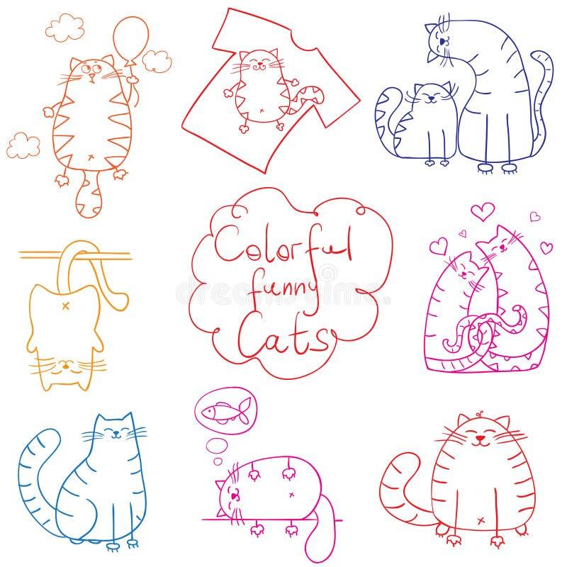 Rolig tecknad film för kattklotteruppsättning vektor illustrationer