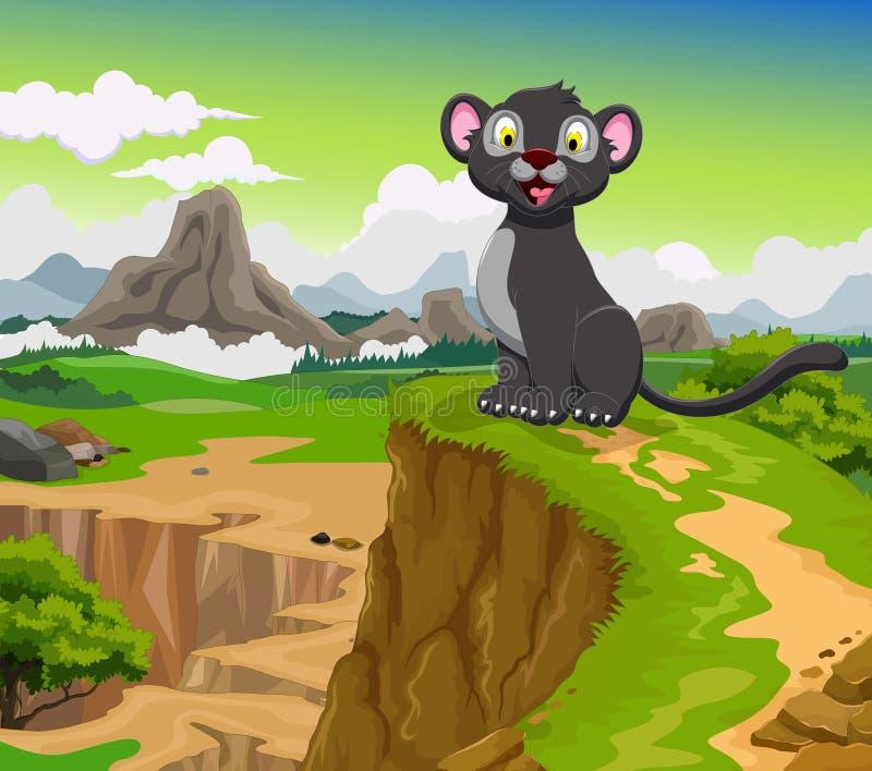 Rolig tecknad film för svart panter med berglandskapbakgrund vektor illustrationer