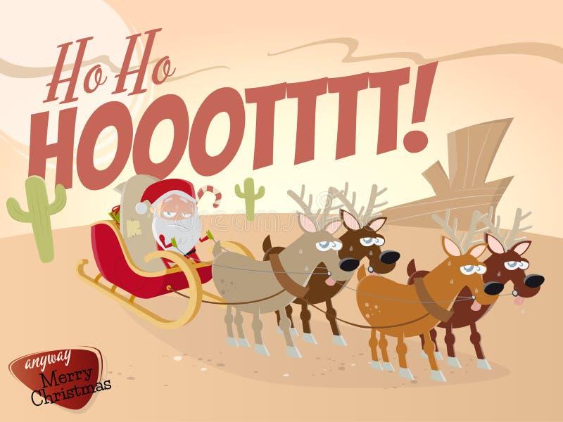 Rolig tecknad film Santa Claus i öken royaltyfri illustrationer