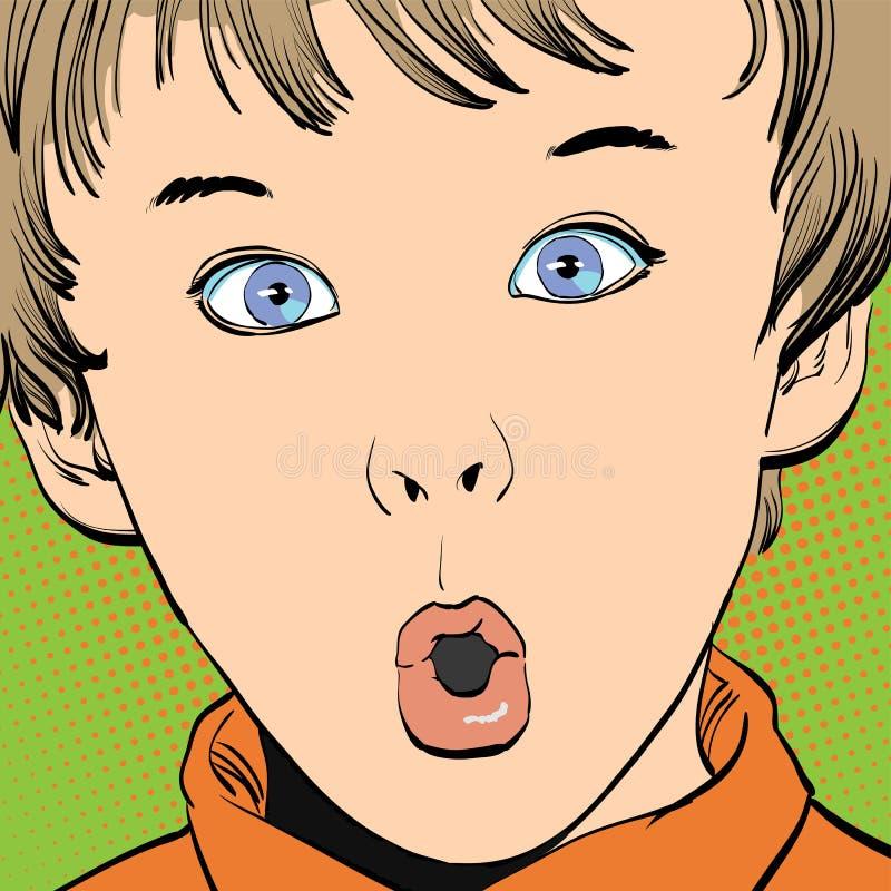 Rolig tecknad film som undrar pojken vektor illustrationer