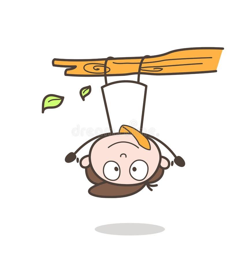 Rolig tecknad filmaffärsman Hanging Upside Down på filialvektor stock illustrationer