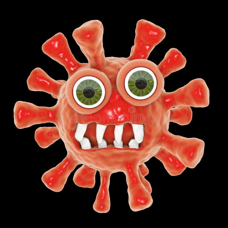 Rolig tecknad filmbakterie vektor illustrationer