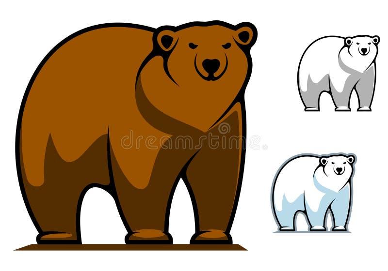 Rolig tecknad filmbjörnmaskot stock illustrationer