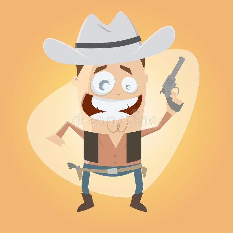 Rolig tecknad filmcowboy royaltyfri illustrationer