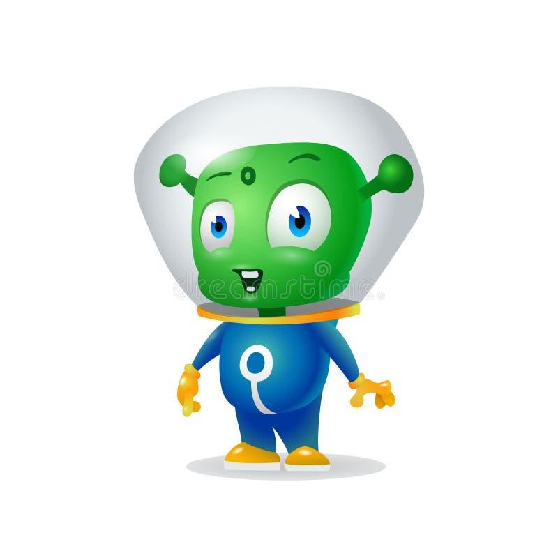 Rolig tecknad filmfrämling i utrymmedräkten, en vänlig grön marsinvånare, tecken för företaget i den moderna stilen 3D royaltyfri foto