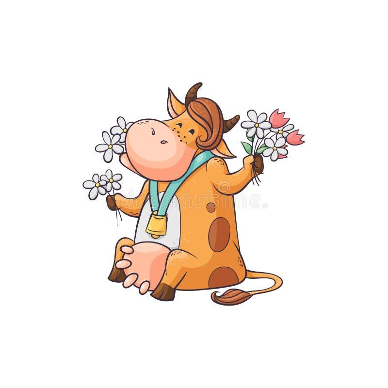 Rolig tecknad filmko som äter blommor, gulligt kvinnligt lantgårddjur med klockan runt om hals royaltyfri illustrationer