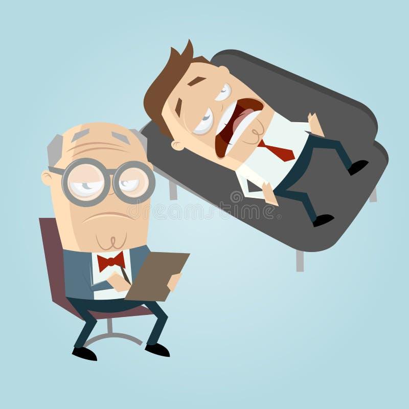 Rolig tecknad filmpsykiater med patienten på soffan stock illustrationer
