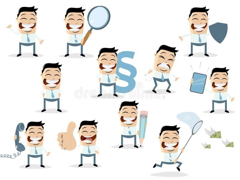 Rolig tecknad filmsamling av en asiatisk affärsman i olika lägen royaltyfri illustrationer