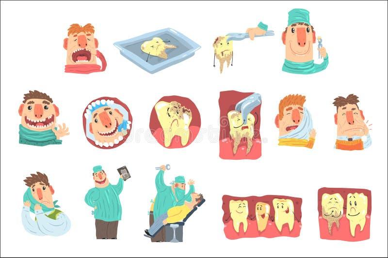Rolig tecknad filmtandl?kareAnd Patient Illustration upps?ttning med tandv?rdtillv?gag?ngss?tt och humaniserade tandtecken stock illustrationer