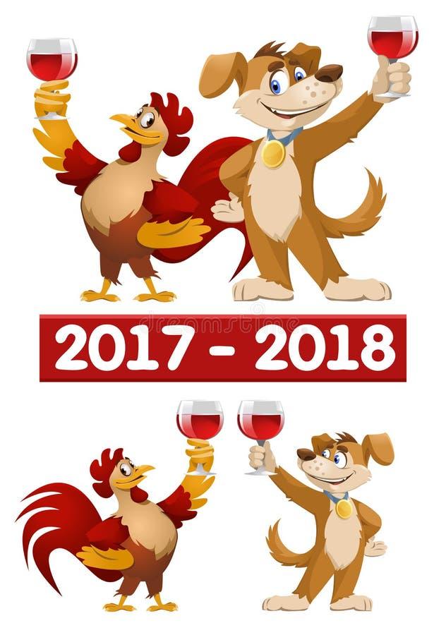 Rolig tecknad filmtupp och hund som symboler av nytt år 2017 och 20 royaltyfri illustrationer