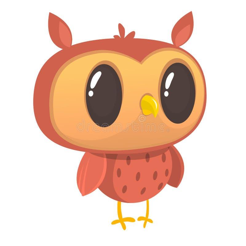 Rolig tecknad filmuggla Lös skogdjursamling behandla som ett barn utbildning isolerat Vit bakgrund Plan design också vektor för c royaltyfri illustrationer