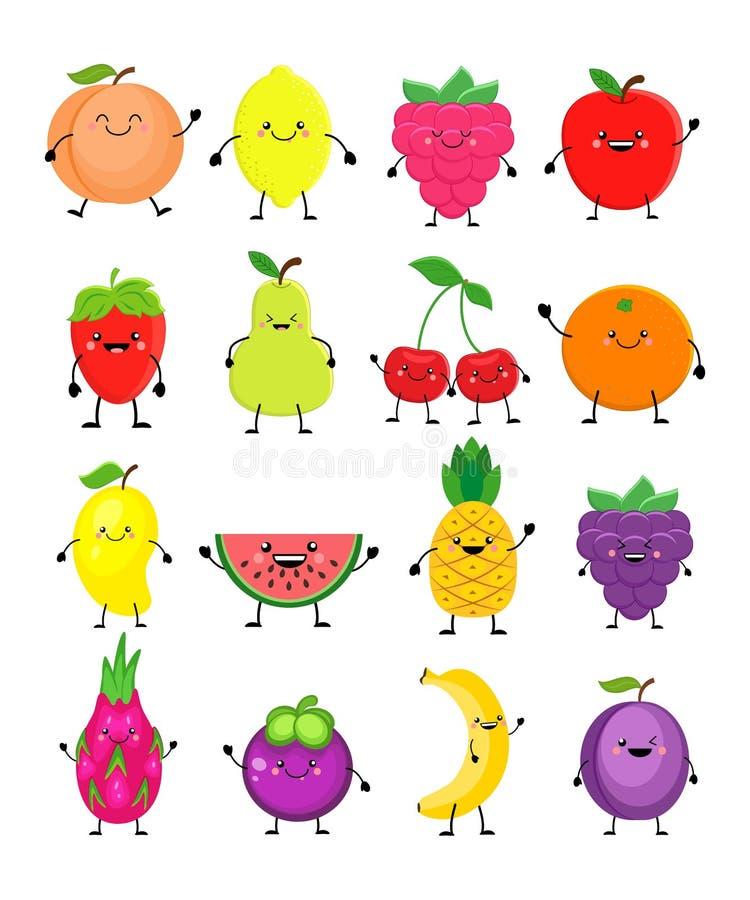 Rolig tecknad filmuppsättning av olika frukter Le persikan, citron, man stock illustrationer