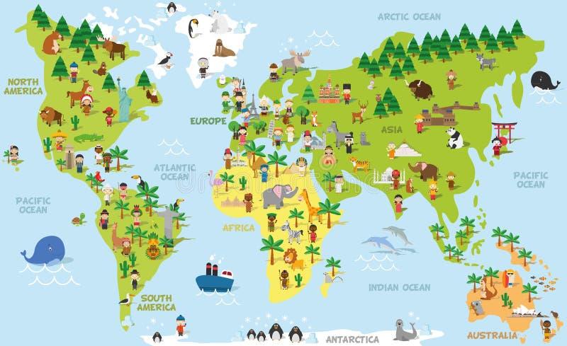 Rolig tecknad filmvärldskarta med barn av olika nationaliteter, djur och monument royaltyfri illustrationer