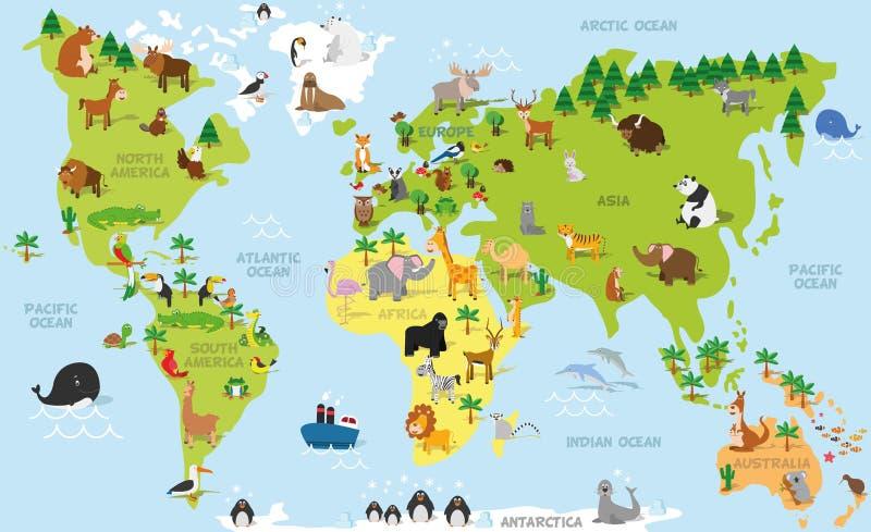 Rolig tecknad filmvärldskarta med traditionella djur allra kontinenterna och haven Vektorillustration för förskole- utbildning royaltyfri illustrationer