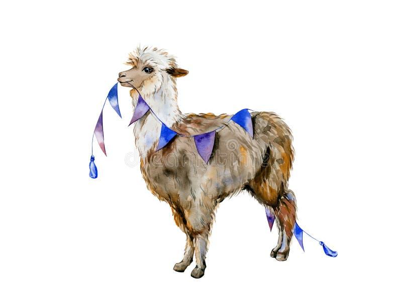 Rolig tecknad filmvattenfärg av brun alpaca eller laman med blå liten flaggagarnering stock illustrationer