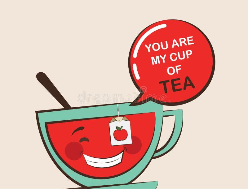 Rolig tekopp med roligt citationstecken, valentinhälsningkort royaltyfri illustrationer