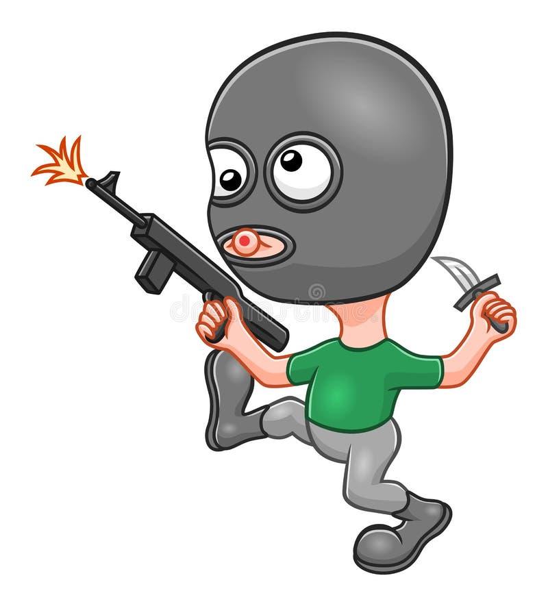 Rolig terrorist för tecknad film stock illustrationer