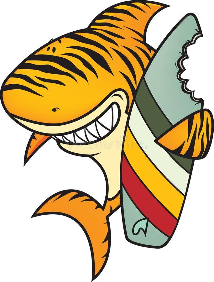 Rolig tigerhaj royaltyfri illustrationer