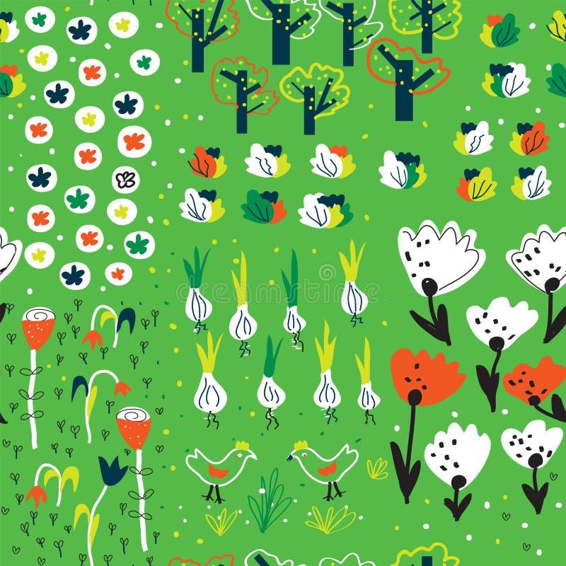 Rolig trädgårds- sömlös modell i vår med blommor, träd, veg royaltyfri illustrationer