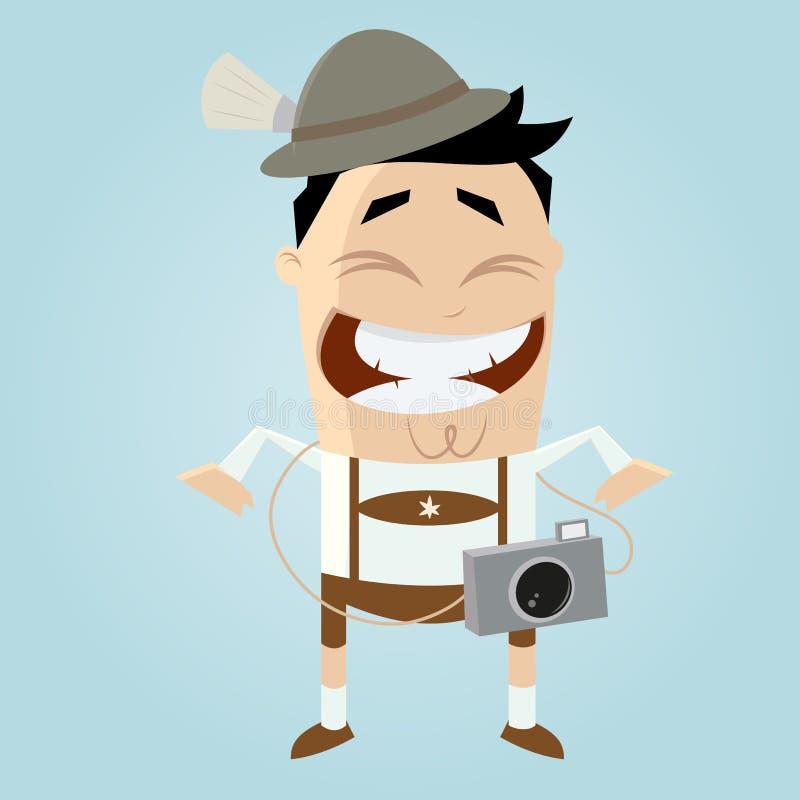 Rolig turist i bavaria royaltyfri illustrationer