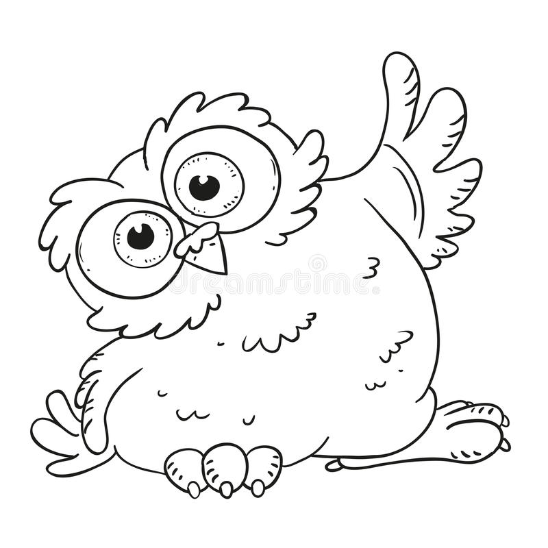 Rolig uggla för tecknad filmtecken Förvånad uggla med stora ögon Vektorfärgläggningbok Kontur på en vit bakgrund vektor illustrationer