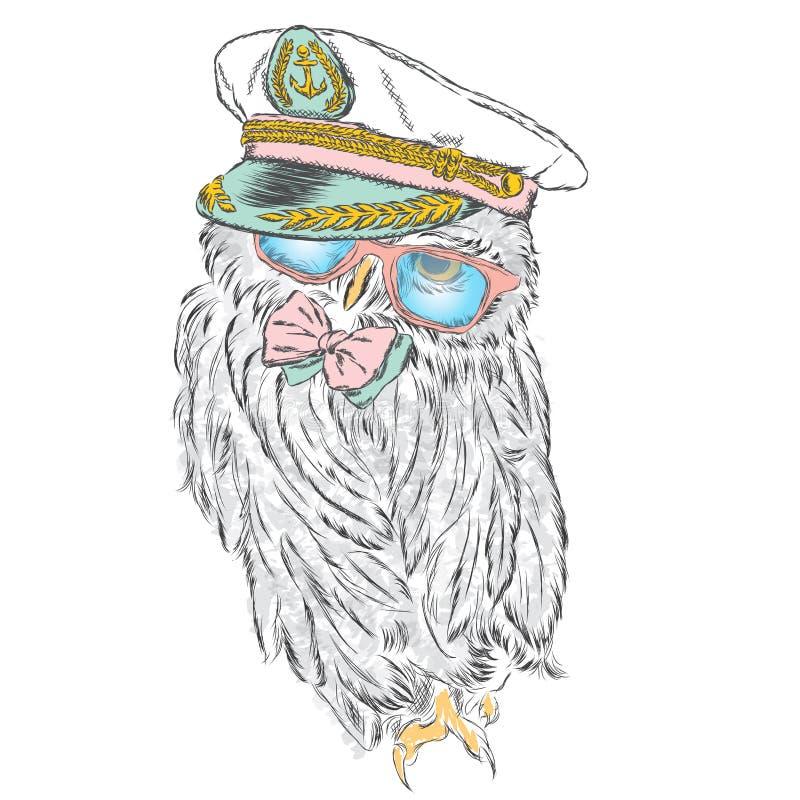 Rolig uggla i en ovanlig hatt och solglasögon royaltyfri illustrationer
