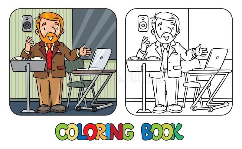 Rolig universitetföreläsare för färgläggningdiagram för bok färgrik illustration stock illustrationer