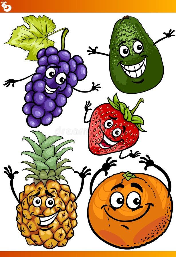 Rolig uppsättning för frukttecknad filmillustration royaltyfri illustrationer