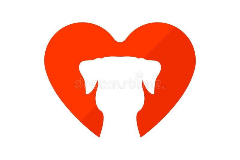 Rolig valpkontur med hjärta på bakgrunden stock illustrationer