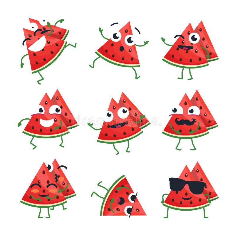 Rolig vattenmelon - vektor isolerade tecknad filmemoticons royaltyfri illustrationer