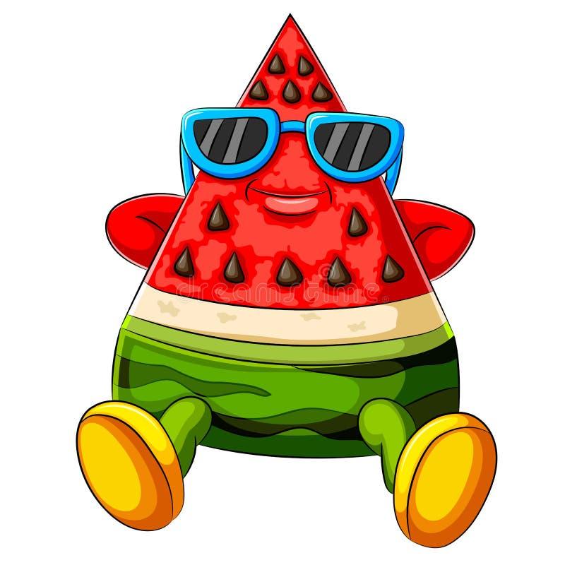 Rolig vattenmelontecknad film som solbadar med svart solglasögon royaltyfri illustrationer