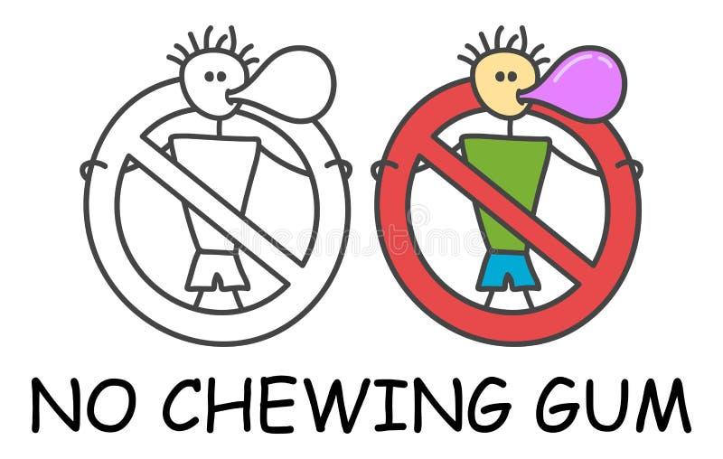 Rolig vektorpinneman med ett gummi i barns stil Inget cheawing rött förbud för bubblegumtecken stoppa symbolet F?rbudsymbol royaltyfri illustrationer