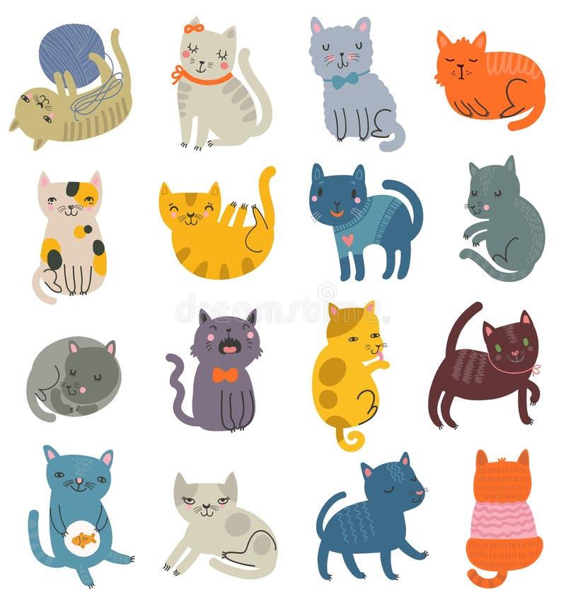 Rolig vektoruppsättning av katter Samling av gulliga tecken royaltyfri illustrationer