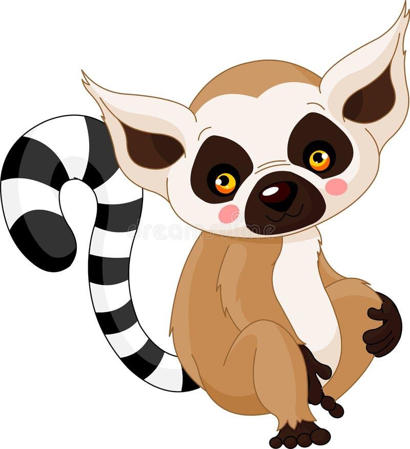 Rolig zoo. Lemur royaltyfri illustrationer