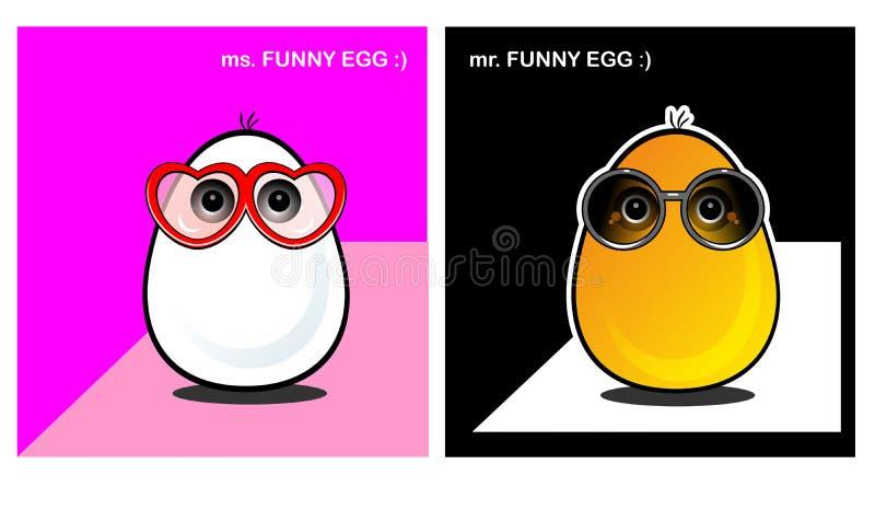 Roliga ägg vänder mot, sinnesrörelse, leenden, anblickar, förälskade roliga framsidor royaltyfri illustrationer