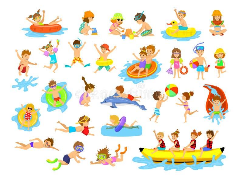 Roliga aktiviteter för barnsommarferier på stranden stock illustrationer