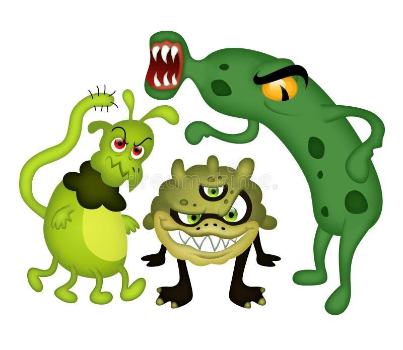 Roliga bakterier vektor illustrationer