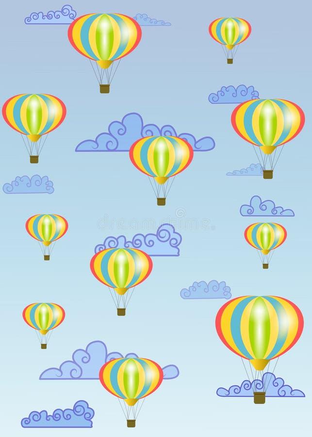 Roliga ballonger för varm luft i himlen royaltyfri illustrationer