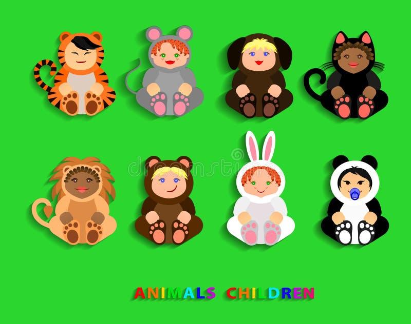 Roliga barn i djura dräkter vektor illustrationer