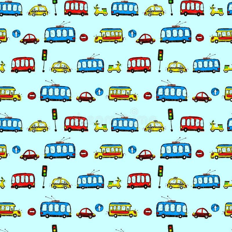 roliga bilar sömlös modelltextur för ungar stock illustrationer