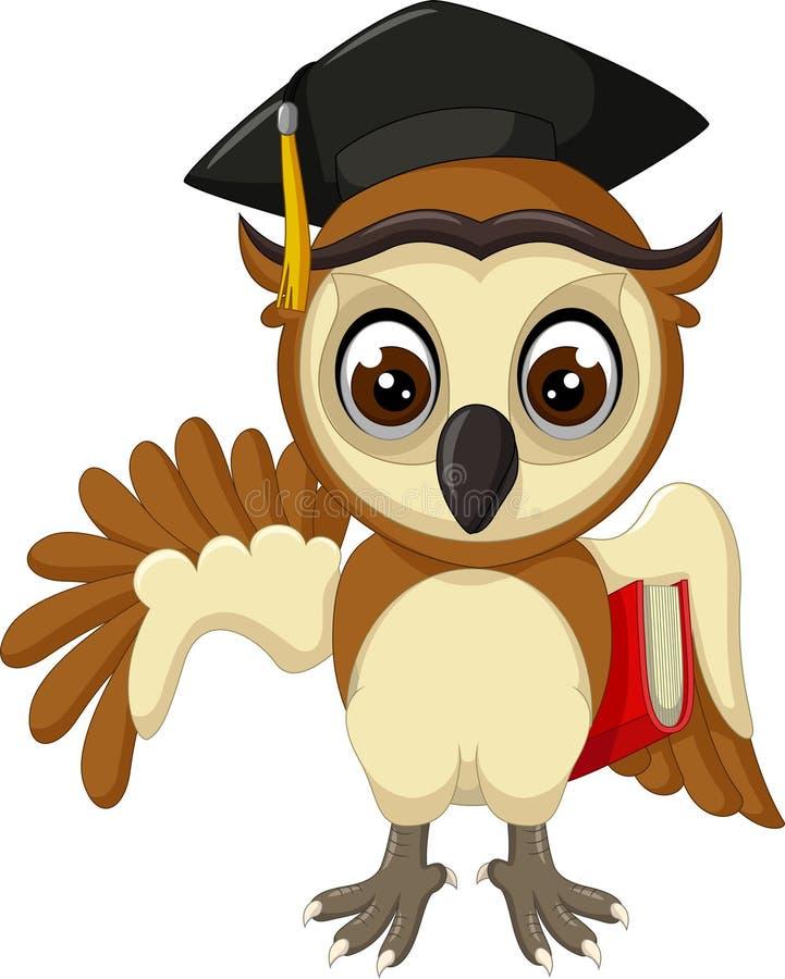 Roliga bruna Owl Wear Black Hat Cartoon royaltyfri illustrationer