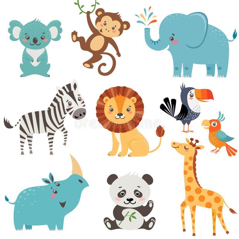 roliga djur stock illustrationer