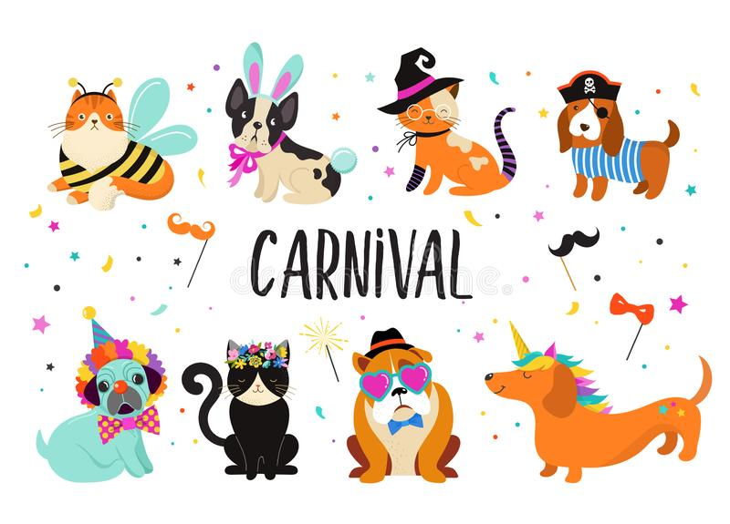 Roliga djur, husdjur Gullig hundkapplöpning och katter med färgrika dräkter för en karneval, vektorillustration vektor illustrationer